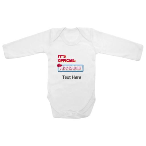 Official Adorable White Longsleeve Baby Grow