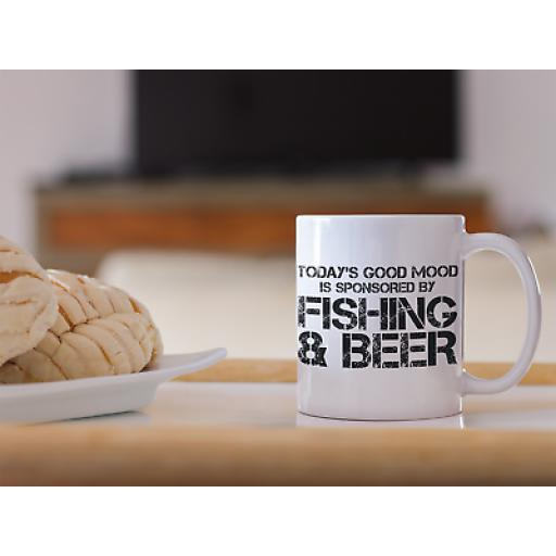 Fishing And Beer 11oz Mug Novelty Design Gift For Beer Drinker Who Loves Fishing