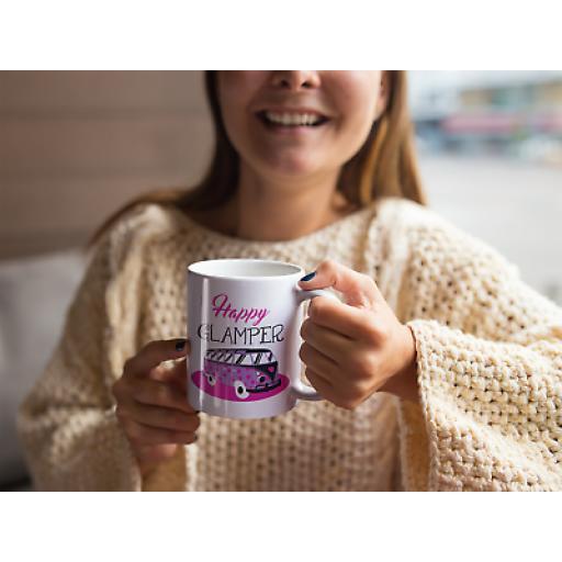 Happy Glamper 11oz Mug Ceramic Novelty Gift For Glampers Lovers Of Motor Homes