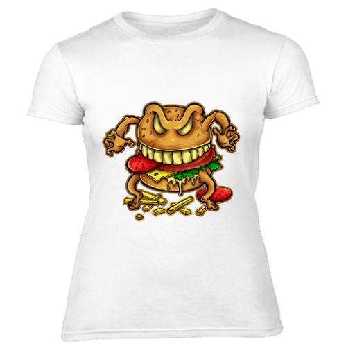 Curse Of The Burger Cartoon Design Women's T-Shirt
