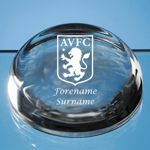 Aston Villa FC Crest Optical Crystal Flat Top Dome Paperweight