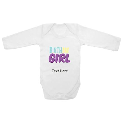 Birthday Girl White Longsleeve Baby Grow