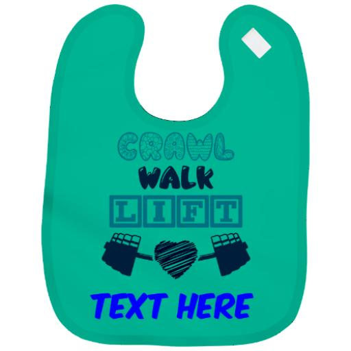 Personalised Baby Bib Boy|Girl Funny Exercise Fitness Design Gift Name & Colour