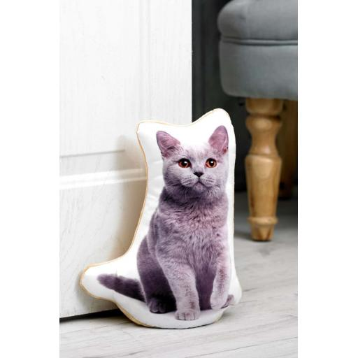 Attention Cat Lovers-Vivid Image British Blue Cat Shaped Doorstop