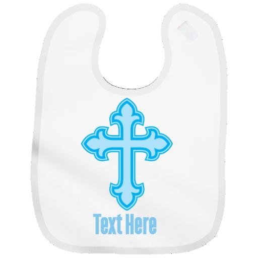 Personalised Baby Bib For Boy Christening With Cross Gift Keepsake - Add Name