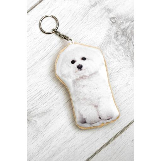 Cute Bichon Frise Shaped Image Key Ring