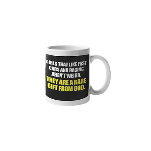 Girls Fast Cars Gift From God 11 oz Mug Ceramic Novelty Design Race Car Gift