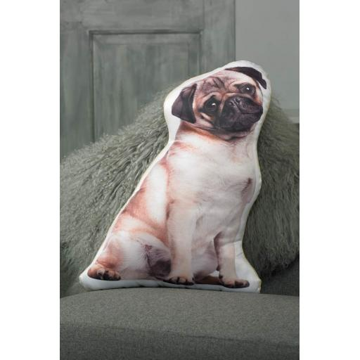 Tan Pug Shaped Cushion Perfect Gift For Pug Dog Lovers