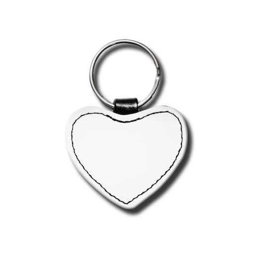 Create Your Own Key Ring - Faux Leather - Matt - Heart - Single Sided Print