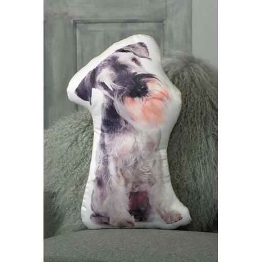 Salt Pepper Schnauzer Shaped Cushion Perfect Gift For Dog Lovers