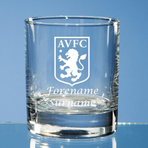 Aston Villa FC Crest Bar Line Old Fashioned Whisky Tumbler