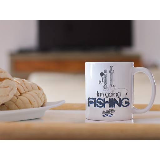 I'm Going Fishing 11 oz Mug Ceramic Novelty Design Fishing Funny Gift