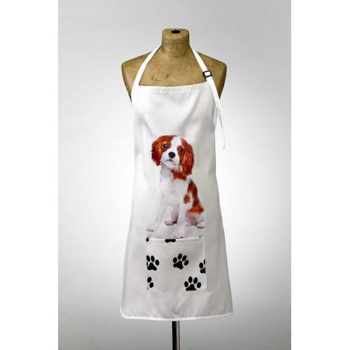 King Charles Cavalier Spaniel Image Apron Poly-Cotton Machine Washable