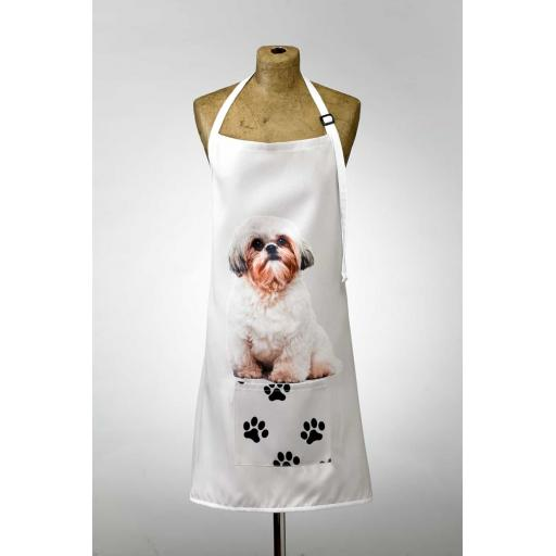 Shih Tzu Image Apron Poly-Cotton Machine Washable