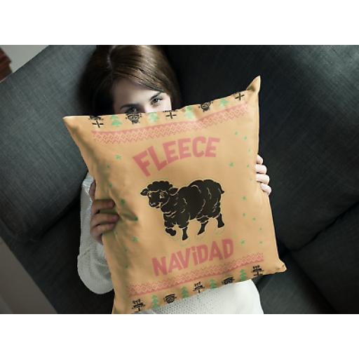 Fleece Navidad Cushion Cover - Smooth Linen - Funny Spanish Sheep Theme Gift