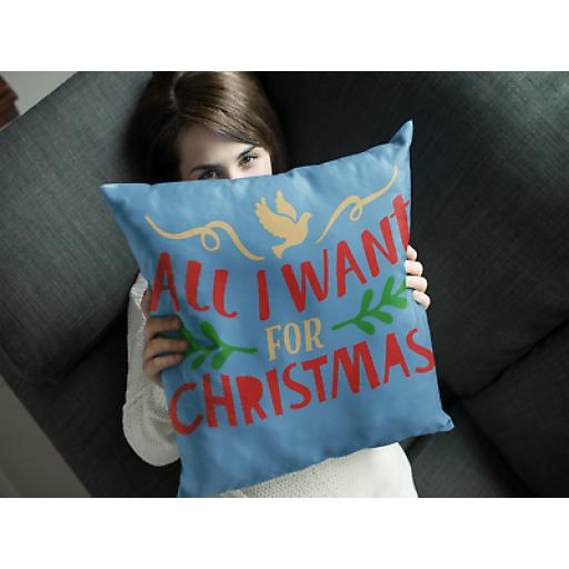 All I Want For Christmas Cushion Cover- Soft Linen - Ideal Christmas Gift