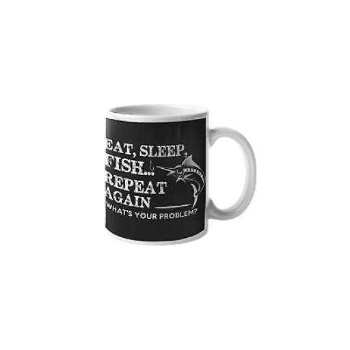 Eat, Sleep, Fish Repeat Again 11 oz Mug Ceramic Novelty Design Fishing Fan Gift