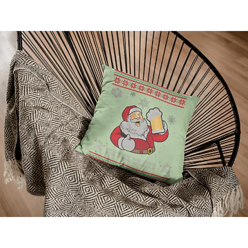 Santa Drink Beer - Soft Linen Cushion Cover - Funny Christmas Gift Homeware