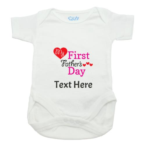 My First Fathers Day Girl Baby Grow-White-Short Sleeved-Printed Front Panel-3-9 Months