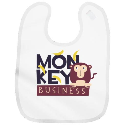 Monkey Business Baby Bib Boy or Girl with Cute Funny Design Add Name & Colours