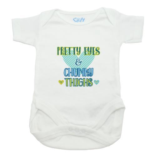 Pretty Eyes and Chunky Thighs Baby Grow-White-Short Sleeved-Printed Front Panel-3-9 Months