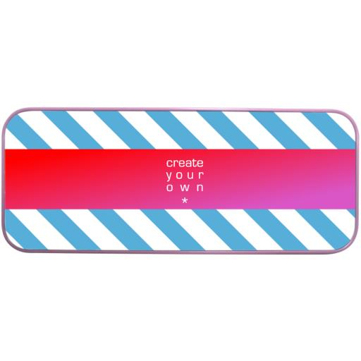 Pencil Case - Metal - Pink - Printed Top Panel