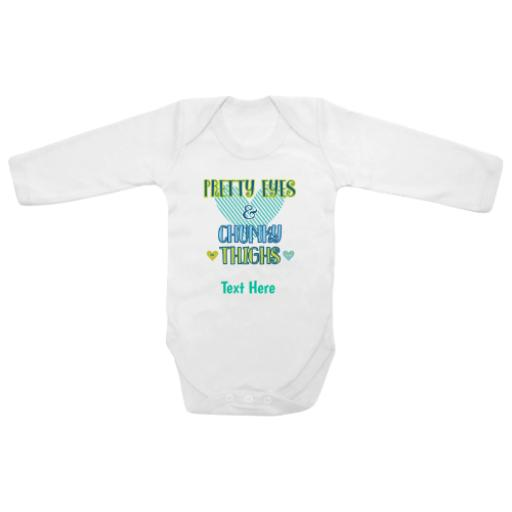 Pretty Eyes Chunky Thighs White Longsleeve Baby Grow