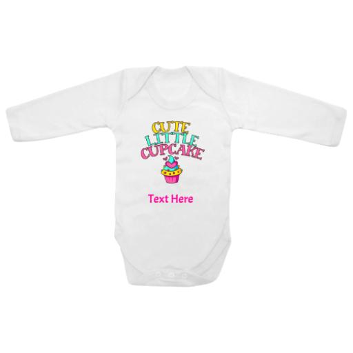 Cute Little Cupcake White Longsleeve Baby Grow