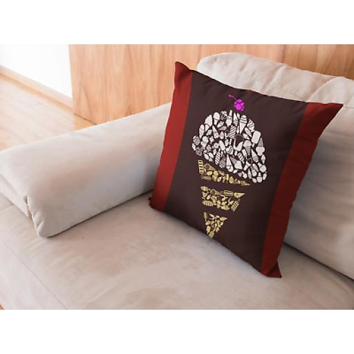 Ice Cream Themed Cushion Cover - Smooth Linen - Novelty Desert Food Lover Gift