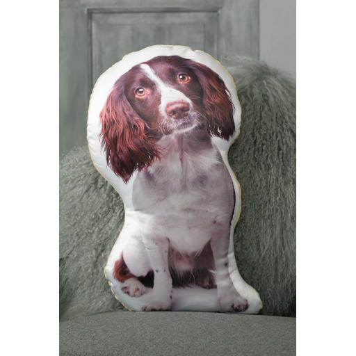 Liver White Springer Spaniel Shaped Cushion Perfect Gift For Dog Lovers
