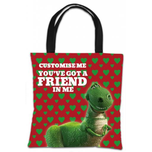 "Disney Toy Story Rex Valentines ""You Gotta Friend In Me"" Tote Bag"