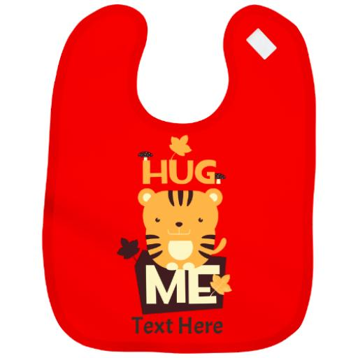 Personalised Baby Bib Boy|Girl Tiger Novelty Cute Design Just Add Name & Colour