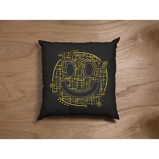 Electric Smiles Themed Cushion Cover - Decorative Smooth Linen - Geek Gift