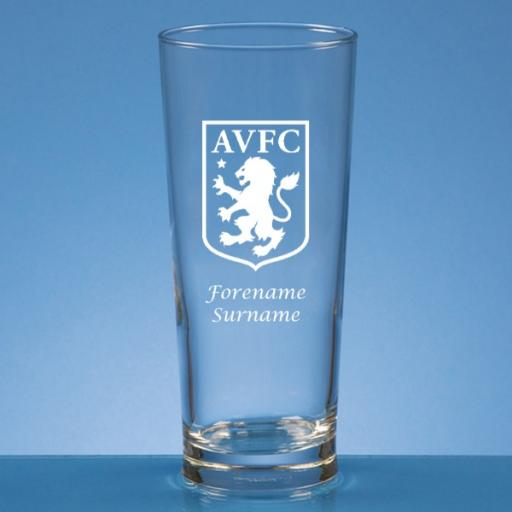 Aston Villa FC Crest Straight Sided Beer Glass