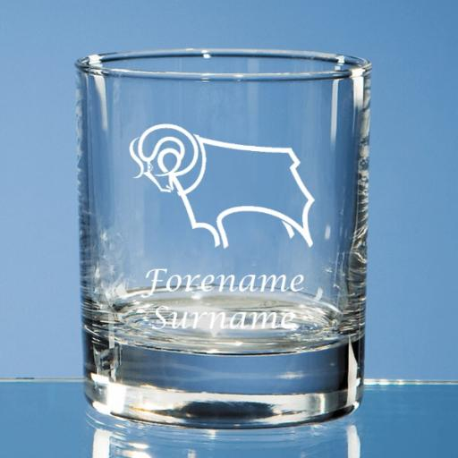 Derby County Crest Bar Line Old Fashioned Whisky Tumbler