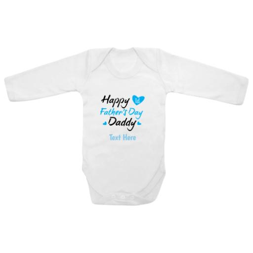 Happy First Fathers Day Daddy Blue White Longsleeve Baby Grow