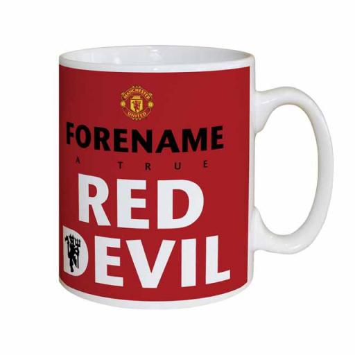 Official Personalised Manchester United FC Red Devil Mug