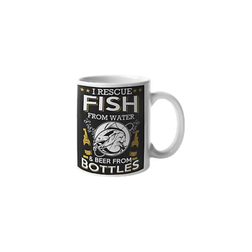 Rescue Fish From Water Beer From Bottles 11oz Mug Novelty Fishing Gift