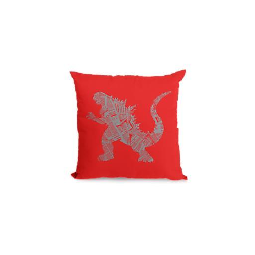 Kaiju Themed Cushion Cover - Decorative Linen - Japanese Movie Godzilla Fan Gift
