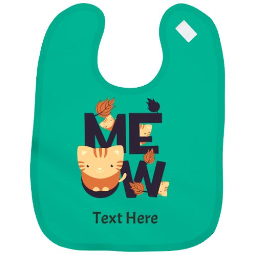 Personalised Baby Bib Boy | Girl Cute Cat Funny Design Gift - Add Name + Colours