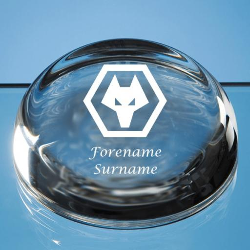 Wolves Crest Optical Crystal Paperweight