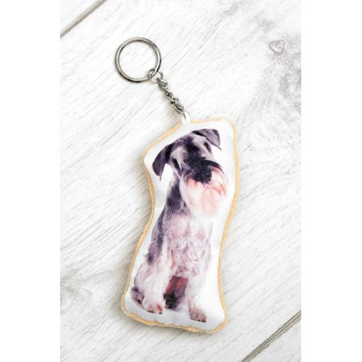 Schnauzer Shaped Image Key Ring