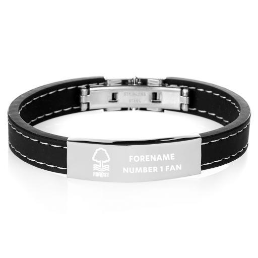 Nottingham Forest FC Steel & Rubber Bracelet