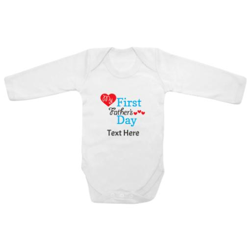 My First Fathers Day Blue Hearts White Longsleeve Baby Grow