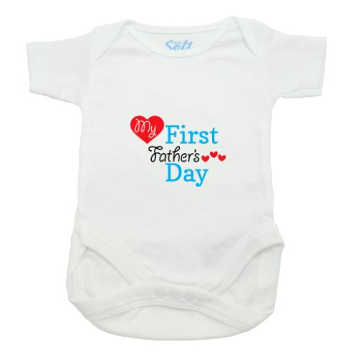My First Fathers Day Boy Baby Grow-White-Short Sleeved-Printed Front Panel-3-9 Months