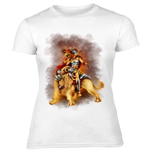 Female Warrior Riding Lion Battle Women's T-Shirt