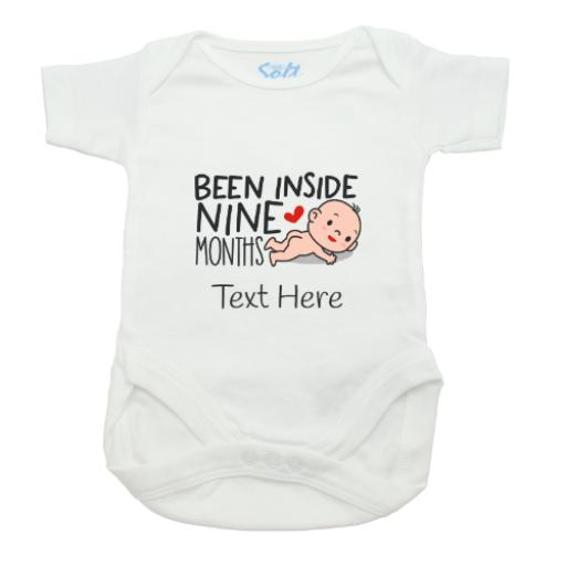 Been Inside 9 Months Baby Grow-White-Short Sleeved-Printed Front Panel