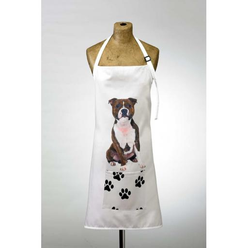Staffordshire Bull Terrier Image Apron Poly-Cotton Machine Washable