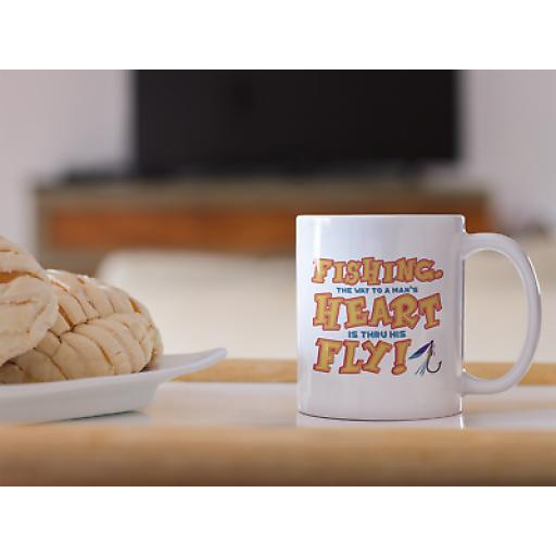 FLY FISHING… THE WAY TO A MAN'S HEART 11 oz Mug Ceramic Novelty Design Gift