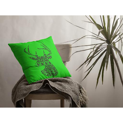 Deer Themed Boho Style Cushion Cover - Decorative Smooth Linen - Animal Wildlife Gift